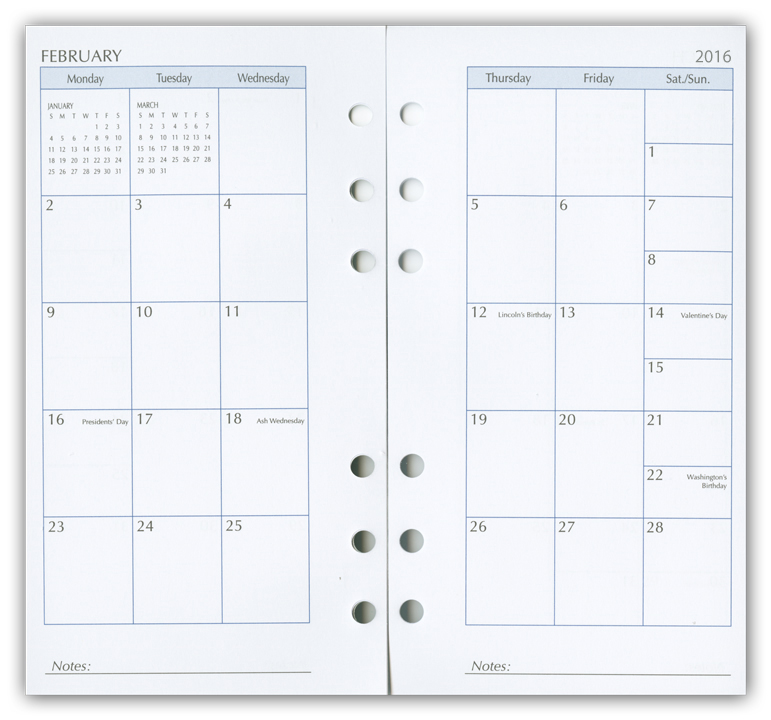 2015 calendar inserts  monthly planners  calendar refill pages