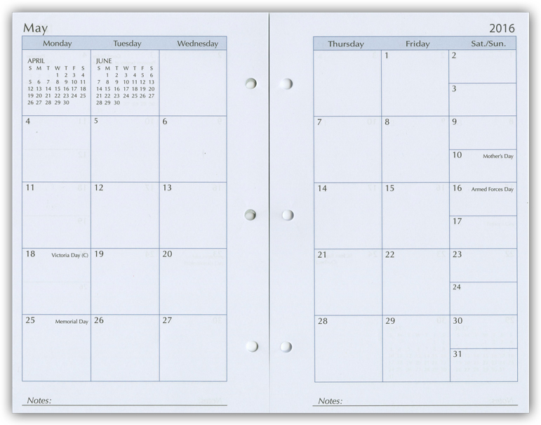 Weekly Calendar Refills : Calendar inserts monthly planners refill pages